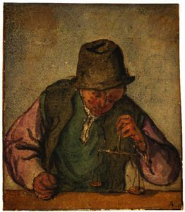 Adriaen Van Ostade - A Man At A Counter, Holding A Pair Of Scales