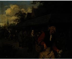 Adriaen Van Ostade - Market Stalls, With A Fisherman In The Foreground
