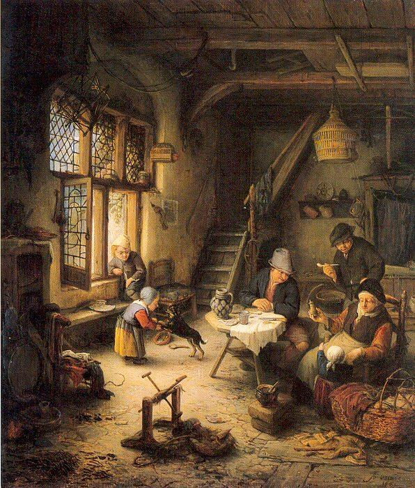 Famous Interior Paintings: Peasant Family In An Interior By Adriaen Van Ostade (1610