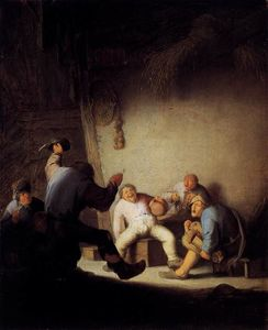 Adriaen Van Ostade - Peasants Drinking And Making Music In A Barn