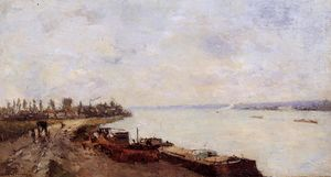 Albert-Charles Lebourg (Albert-Marie Lebourg) - Barges on the Seine, near Paris