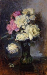 Albert-Charles Lebourg (Albert-Marie Lebourg) - Bouquet of Roses in a Vase
