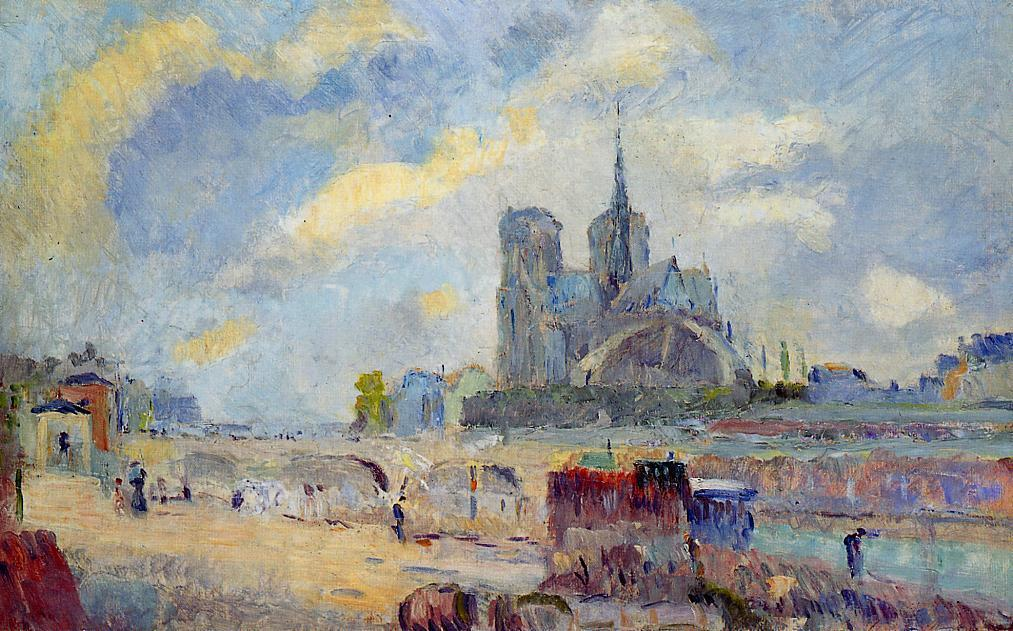 Notre-Dame de Paris and the Bridge of the Archeveche by Albert Charles Lebourg (1849-1928, France)