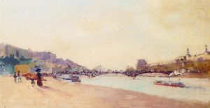 Albert-Charles Lebourg (Albert-Marie Lebourg) - Paris, the Seine and the Pont des Saint-Peres, with the Louvre