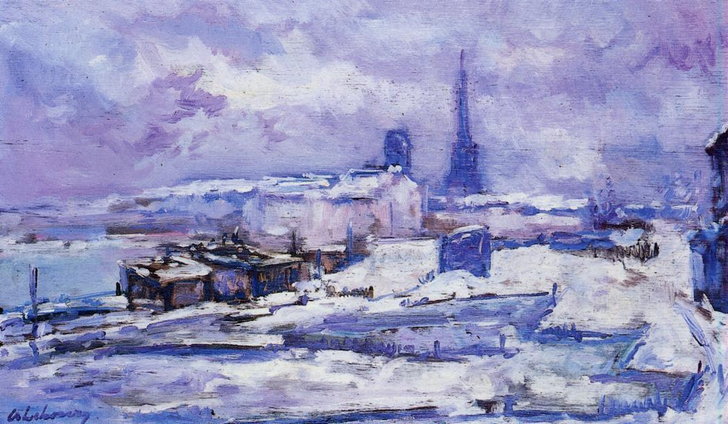 Rouen, Snow Effect, Oil by Albert Charles Lebourg (1849-1928, France)