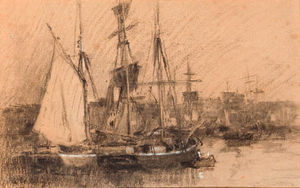 Albert-Charles Lebourg (Albert-Marie Lebourg) - Ships in a French port