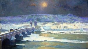 Albert-Charles Lebourg (Albert-Marie Lebourg) - The Bridge over the Allier at Pont-du-Chateau in Winter