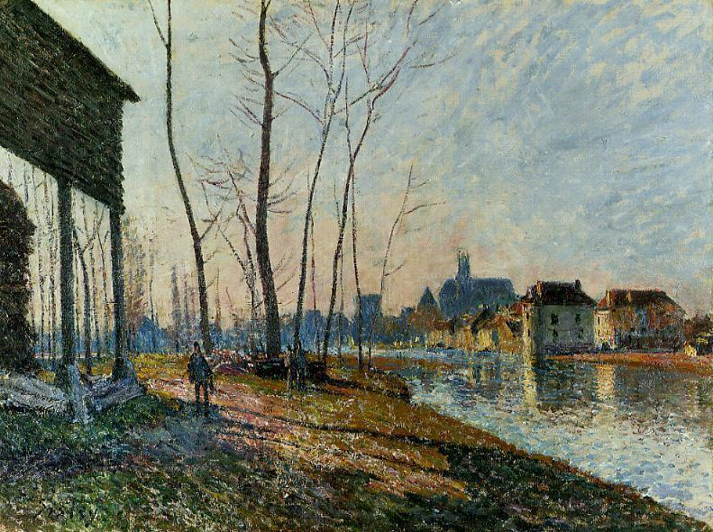 A February Morning at Moret sur Loing, Oil On Canvas by Alfred Sisley (1839-1899, France)