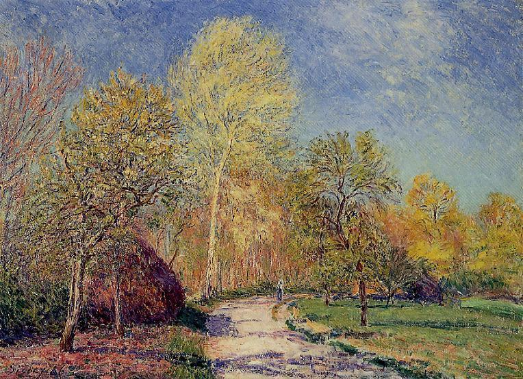 A May Morning in Moret, 1886 by Alfred Sisley (1839-1899, France) | WahooArt.com