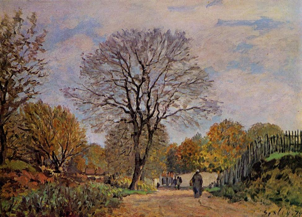 A Road in Seine et Marne, 1875 by Alfred Sisley (1839-1899, France) | Paintings Reproductions Alfred Sisley | WahooArt.com