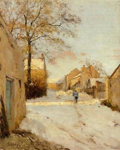 Alfred Sisley - A Village Street in Winter
