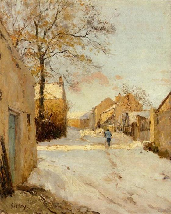 A Village Street in Winter, Oil On Canvas by Alfred Sisley (1839-1899, France)