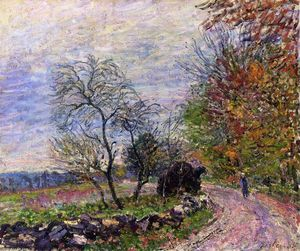 Alfred Sisley - Along the woods in Autumn