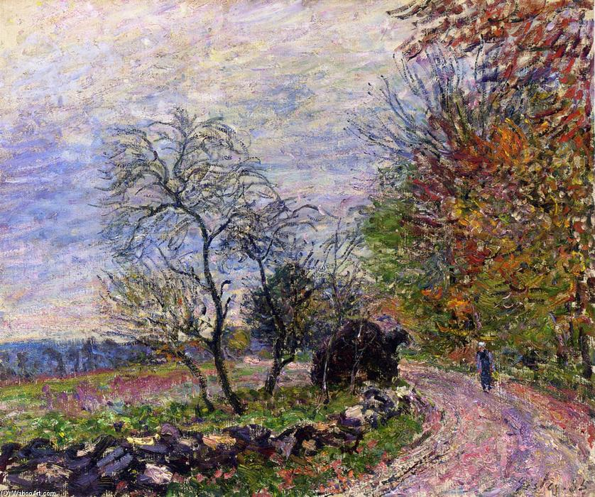 Along the woods in Autumn, 1885 by Alfred Sisley (1839-1899, France) | Oil Painting | WahooArt.com