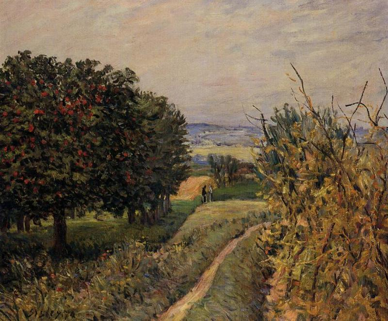 Among the Vines near Louveciennes, 1874 by Alfred Sisley (1839-1899, France) | Museum Quality Reproductions | WahooArt.com