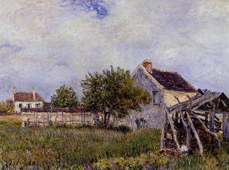 An Old Cottage at Sablons, Oil On Canvas by Alfred Sisley (1839-1899, France)