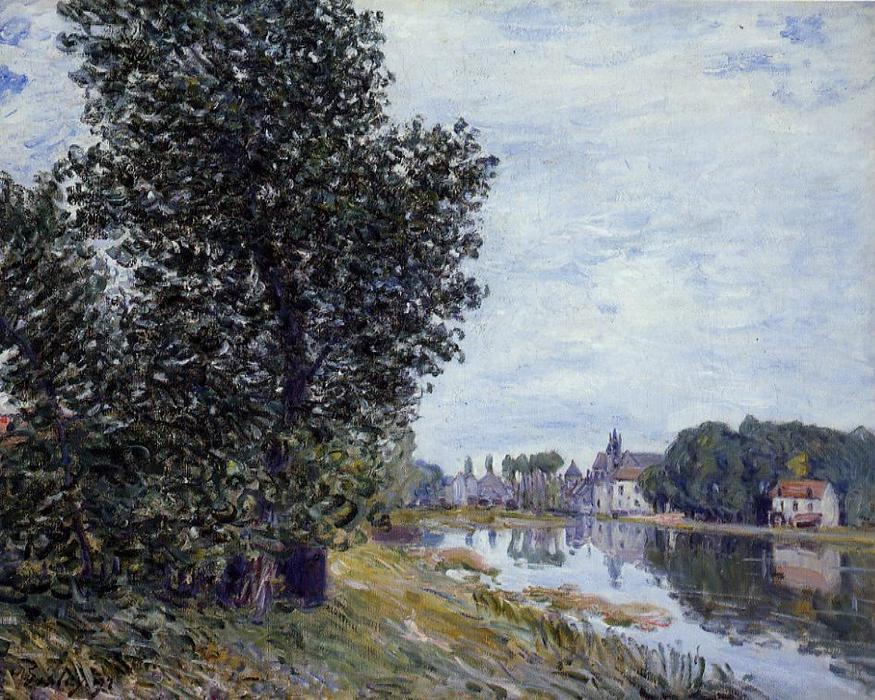 At Moret sur Loing, Oil On Canvas by Alfred Sisley (1839-1899, France)