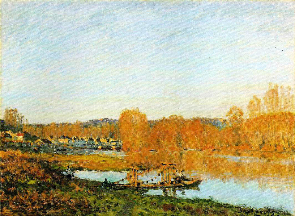 Autumn Banks of the Seine near Bougival, 1873 by Alfred Sisley (1839-1899, France) | Painting Copy | WahooArt.com