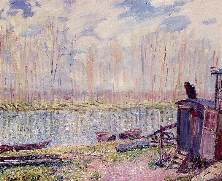 Banks of the Loing 1, Oil by Alfred Sisley (1839-1899, France)