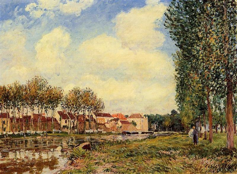 Banks of the Loing at Moret, Morning, 1888 by Alfred Sisley (1839-1899, France) | Art Reproduction | WahooArt.com