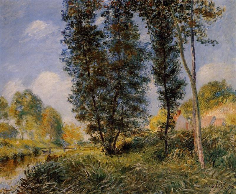 Banks of the Orvanne, Oil On Canvas by Alfred Sisley (1839-1899, France)