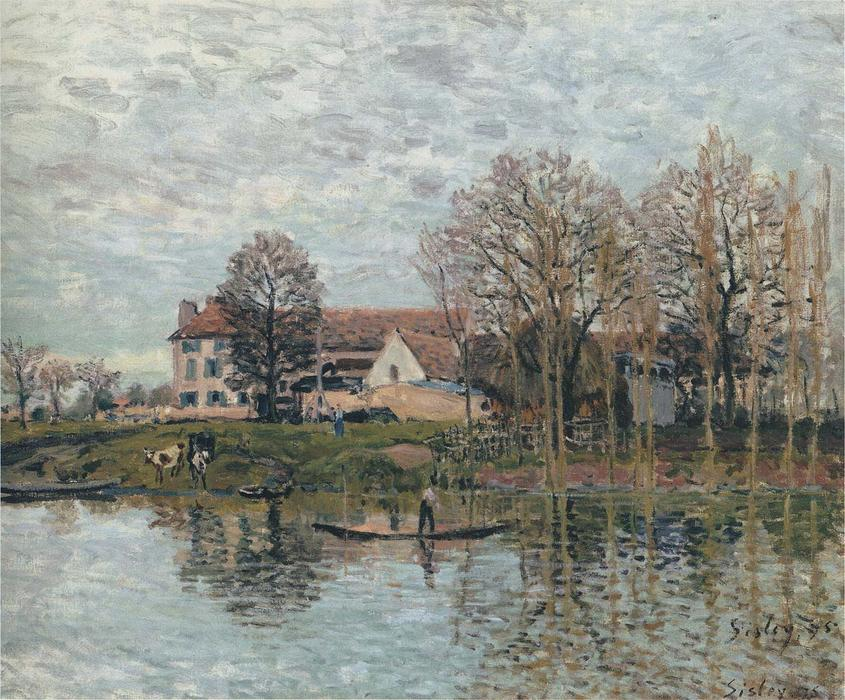 Banks of the Seine at Port Marly, Oil On Canvas by Alfred Sisley (1839-1899, France)