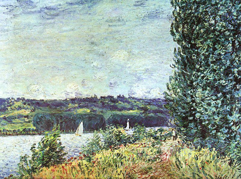 Banks of the Seine, Wind Blowing, Oil On Canvas by Alfred Sisley (1839-1899, France)