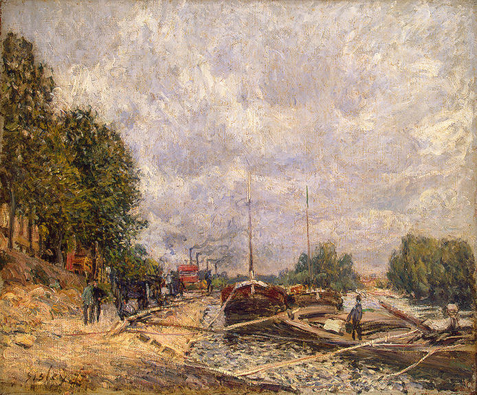 Barges at Billancourt, 1877 by Alfred Sisley (1839-1899, France) | Famous Paintings Reproductions | WahooArt.com