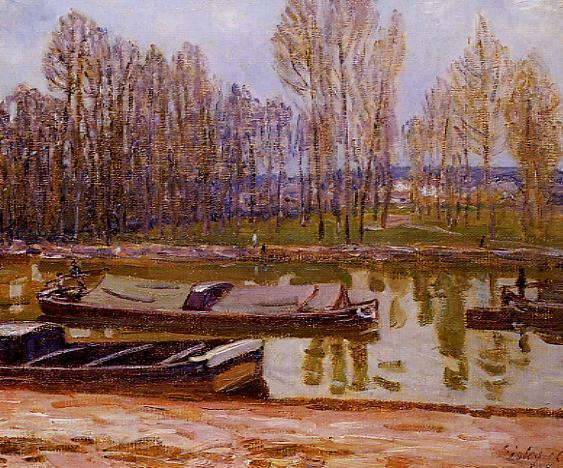 Barges on the Loing Canal, Spring, 1896 by Alfred Sisley (1839-1899, France) | Museum Quality Reproductions | WahooArt.com