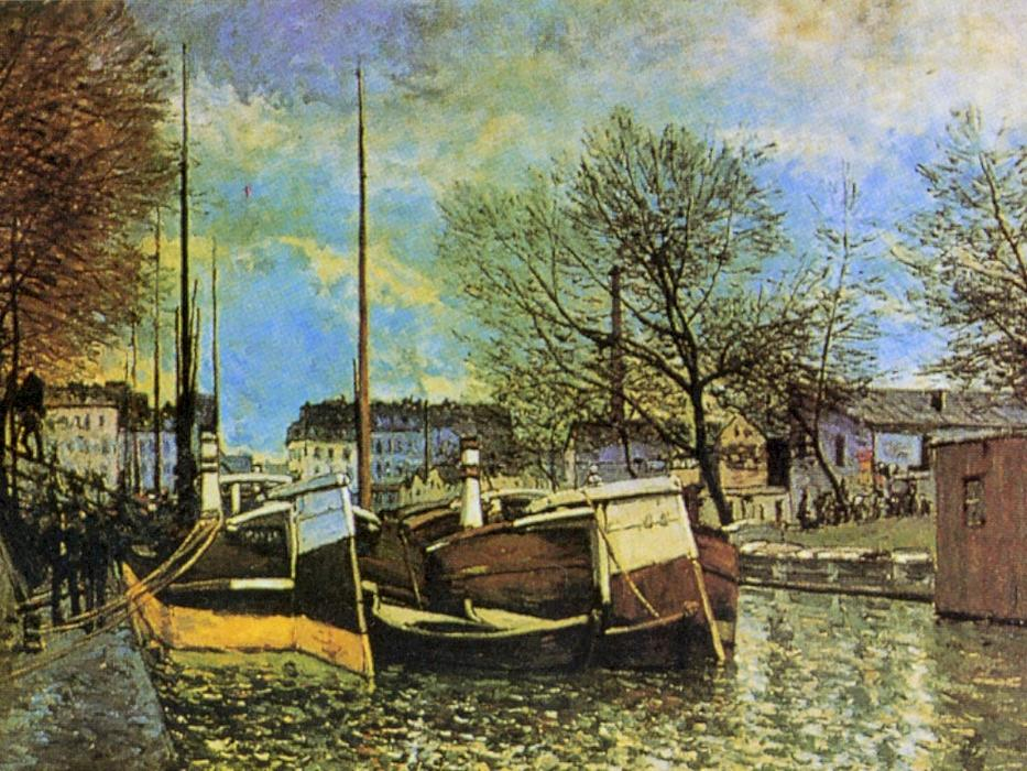 Barges on the Saint Martin Canal, Oil On Canvas by Alfred Sisley (1839-1899, France)