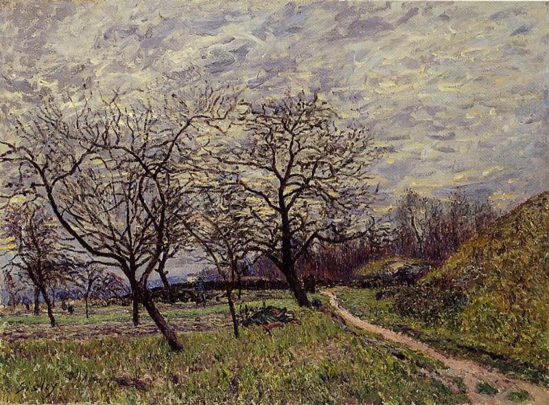 Between Veneux and By December Morning, Oil On Canvas by Alfred Sisley (1839-1899, France)