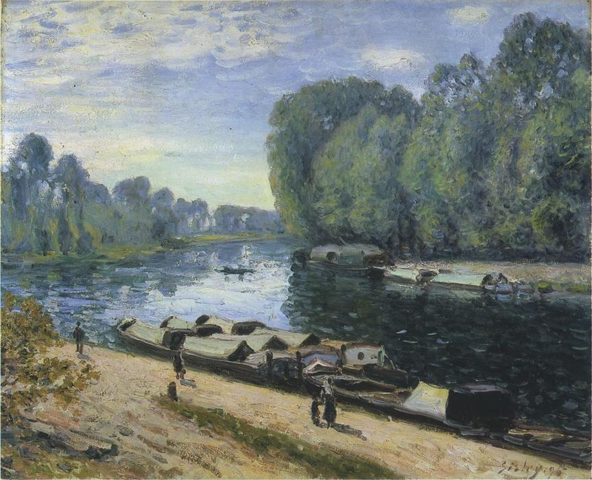 Boats on the Loing River, Oil On Canvas by Alfred Sisley (1839-1899, France)