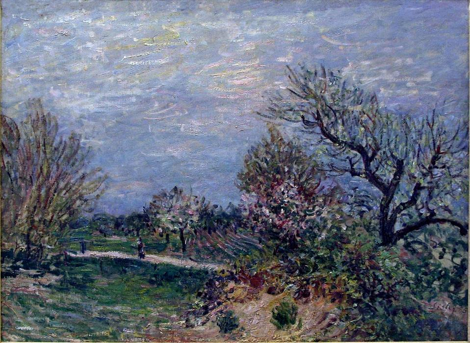 Border of the Woods, 1885 by Alfred Sisley (1839-1899, France) | Oil Painting | WahooArt.com