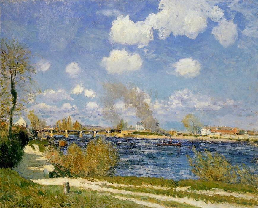 Bougival, Oil On Canvas by Alfred Sisley (1839-1899, France)