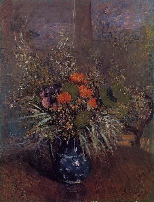 Bouquet of Flowers, Oil On Canvas by Alfred Sisley (1839-1899, France)