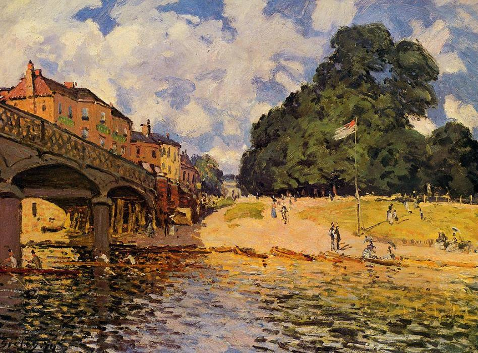 Bridge at Hampton Court, Oil by Alfred Sisley (1839-1899, France)
