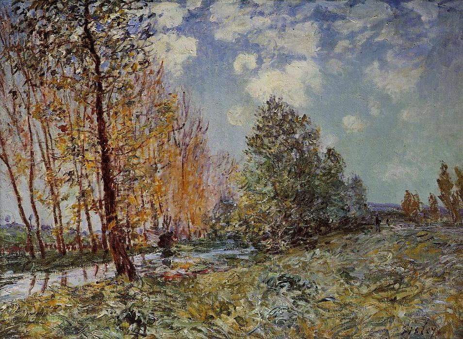 By the River, Oil On Canvas by Alfred Sisley (1839-1899, France)