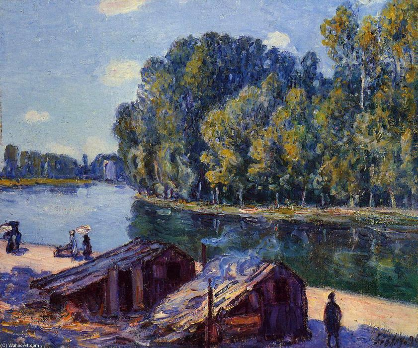 Cabins along the Loing Canal, Sunlight Effect, 1896 by Alfred Sisley (1839-1899, France) | Museum Quality Reproductions | WahooArt.com