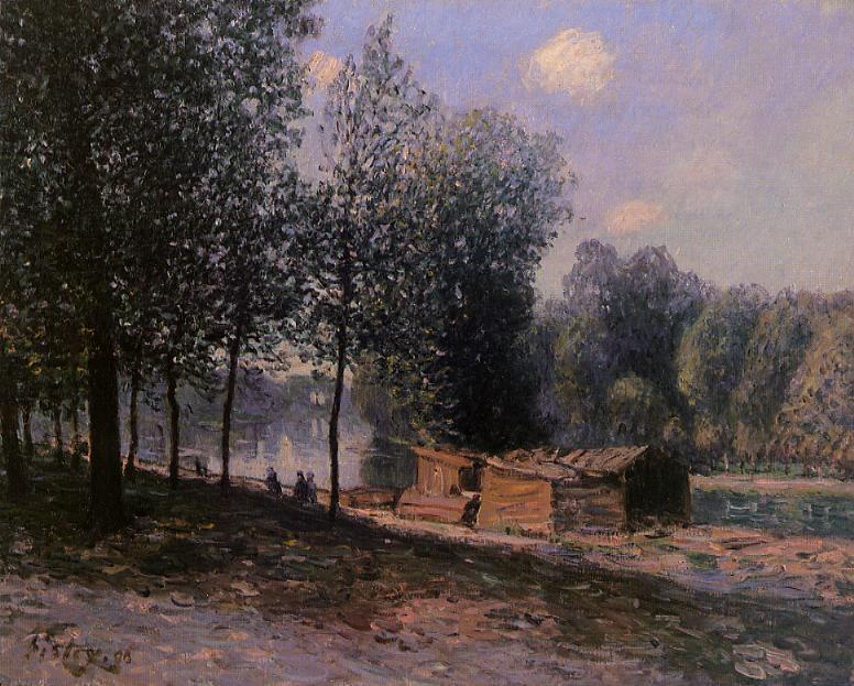 Cabins by the River Loing, Morning, Oil On Canvas by Alfred Sisley (1839-1899, France)