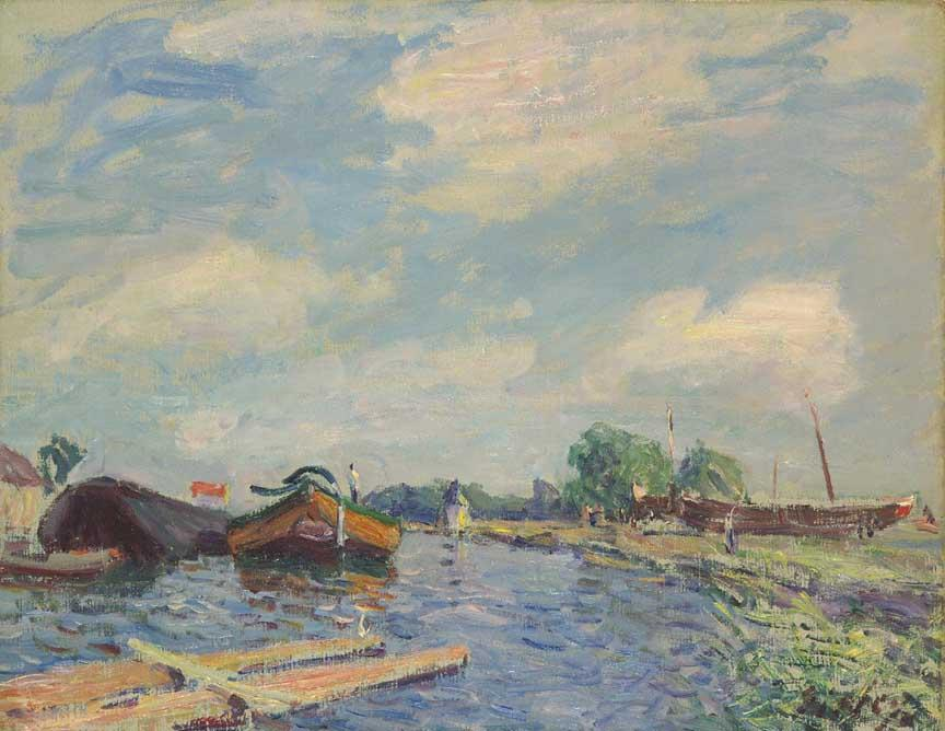 Canal at Saint Mammes, Oil On Canvas by Alfred Sisley (1839-1899, France)