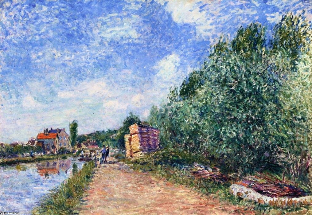 Canal du Loing Chemin de Halage, Oil On Canvas by Alfred Sisley (1839-1899, France)
