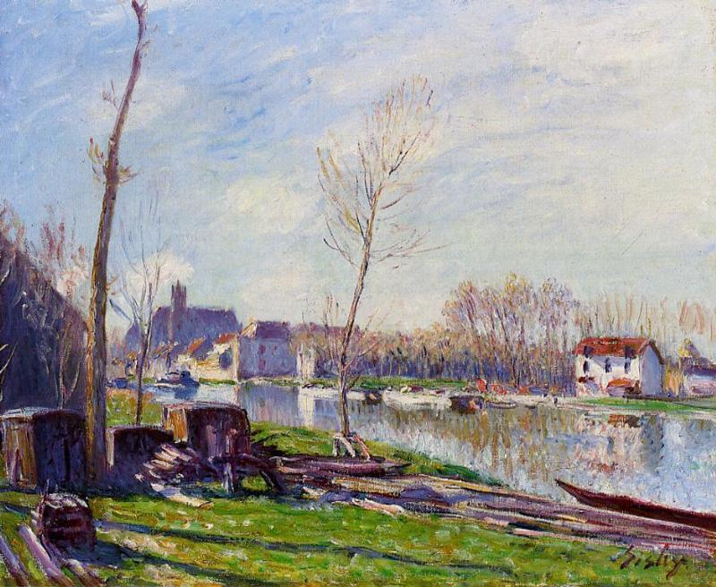 Construction Site at Matrat, Moret sur Loing, 1888 by Alfred Sisley (1839-1899, France) | Painting Copy | WahooArt.com