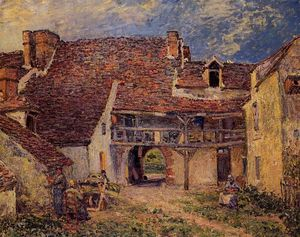 Alfred Sisley - Courtyard of a Farm at Saint Mammes