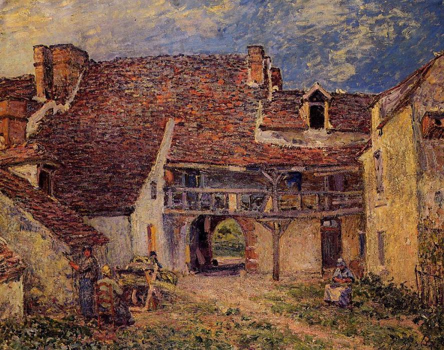 Courtyard of a Farm at Saint Mammes, Oil On Canvas by Alfred Sisley (1839-1899, France)