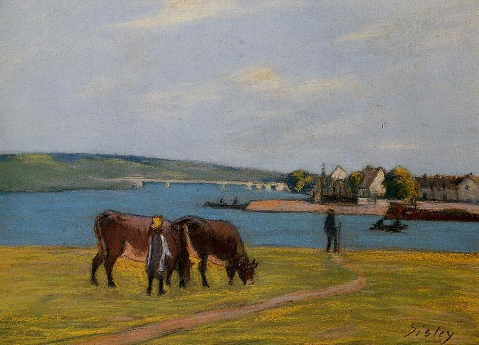 Cows by the Seine at Saint Mammes, 1895 by Alfred Sisley (1839-1899, France) | Painting Copy | WahooArt.com