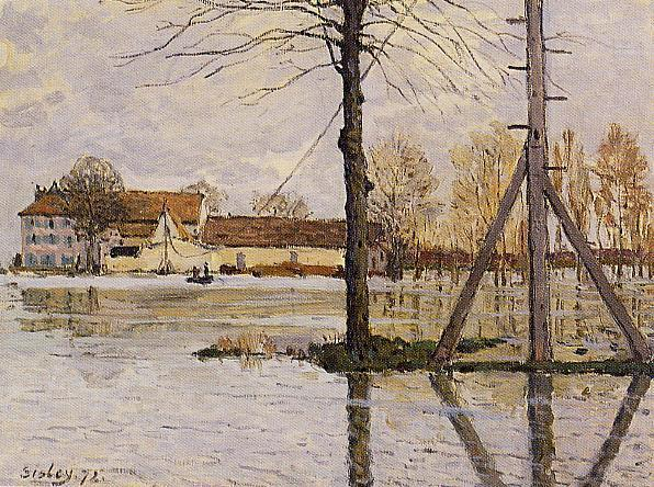 Ferry to the Ile de la Loge, Flood, 1872 by Alfred Sisley (1839-1899, France) | Oil Painting | WahooArt.com