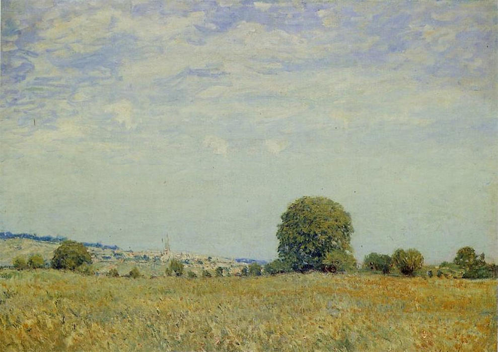 Fields at Saint Cloud by Alfred Sisley (1839-1899, France) | Painting Copy | WahooArt.com