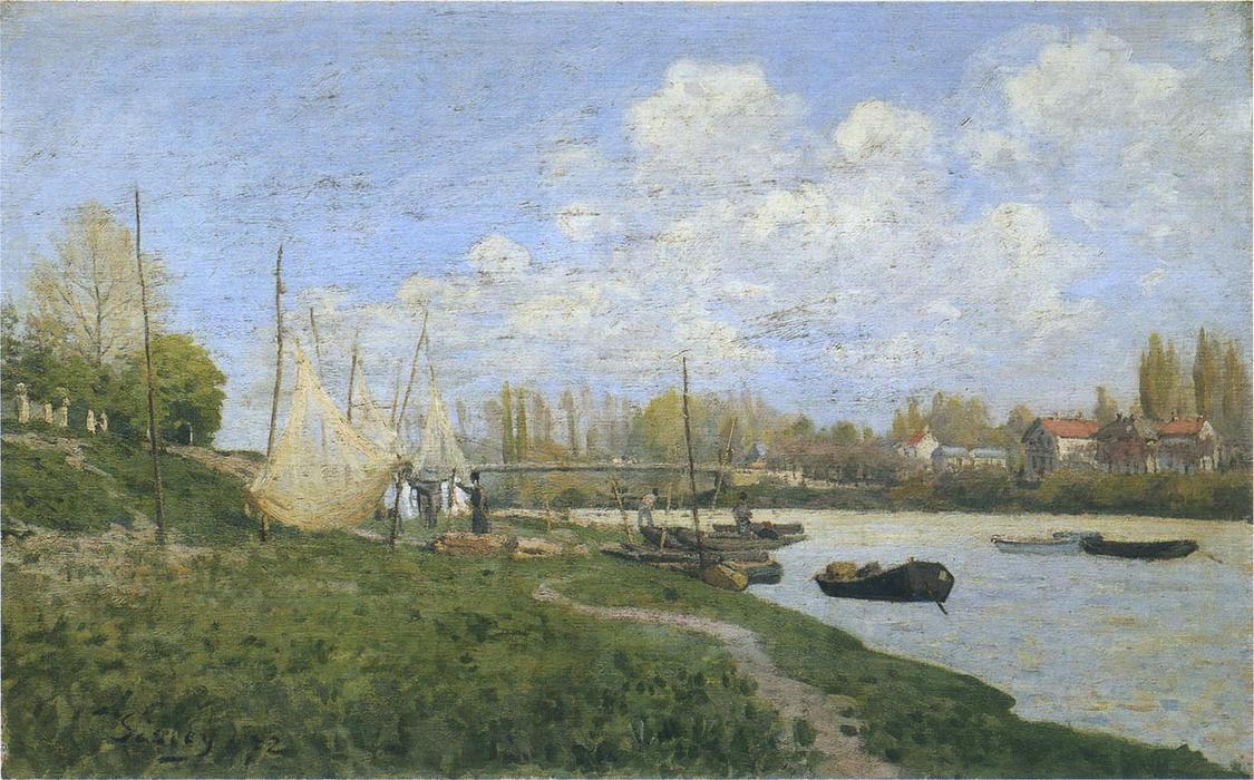 Fishermen mending nets, Oil On Canvas by Alfred Sisley (1839-1899, France)