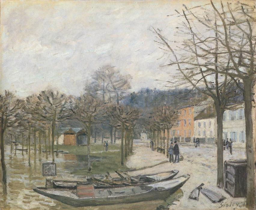 Flood at Port Marly, Oil On Canvas by Alfred Sisley (1839-1899, France)