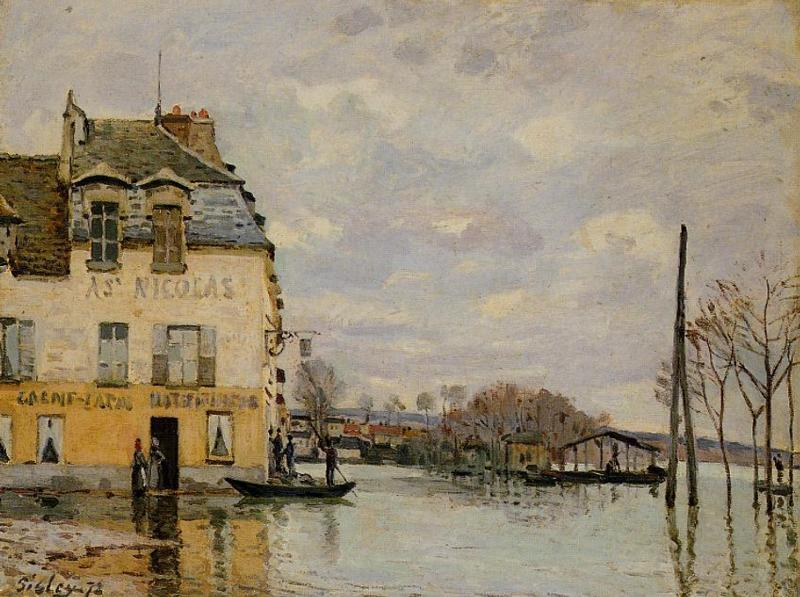 Flood at Port-Marly 3, Oil by Alfred Sisley (1839-1899, France)